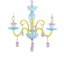 Kid Chandelier Small Candle Chandelier Indoor LED Chandelier with Crystal Balls