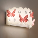 Country Wall Light Kids Bedroom Girls Room Butterfly Hallway Crystal Sconce Lighting