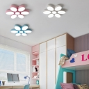 6 Lights Flower Design Ceiling Light Colorful Girl's Acrylic Ceiling Flush Mount in Warm/White