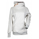 Plain Buttons Embellished Long Sleeve Leisure Hoodie