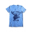 DON'T MOOSE Letter Deer Printed Round Neck Short Sleeve Tee