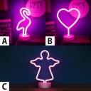 Battery-Operated/USB Swan/Heart/Angle Puple Light Kids Night Light with Plastic Base
