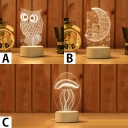 Switch/Touch/Remote Night Owl/Moonstar/Jellyfish Acrylic 3D Effect Night Light