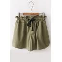 Chic Plain Drawstring Waist Loose Shorts