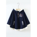 Cat Embroidered Button Front Loose Hooded Cape