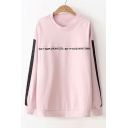 Letter Number Embroidered Contrast Striped Long Sleeve Round Neck Sweatshirt