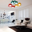 Acrylic Butterfly LED Lighting Fixture Contemporary Girls Room Pendant Lamp in Green/Yellow/Red