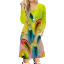 Digital Feather Printed Round Neck Long Sleeve Midi A-Line Dress