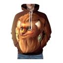 ED Cute Lion Printed Long Sleeve Loose Hoodie
