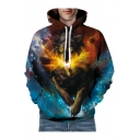 3D Cool Running Wolf Printed Long Sleeve Unisex Hoodie