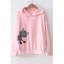 Fall Collection Cat Embroidered Long Sleeve Leisure Loose Hoodie