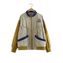 Color Block Plaid Printed Stand Up Collar Long Sleeve Zip Up Loose Jacket