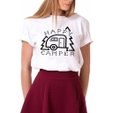 HAPPY CAMPER Letter Car Printed Round Neck Short Sleeve Tee