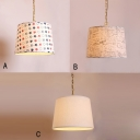Fabric Drum Shade Hanging Lamp American Retro Single Light Pendant Light for Living Room