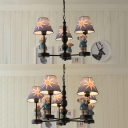 Bear Chandelier Lamp Lodge Style Fabric Shade 3/5 Lights Hanging Lamp in Black Finish for Baby Kids Room