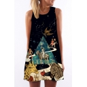 Fancy Galaxy Character Animal Printed Round Neck Sleeveless Mini A-Line Dress