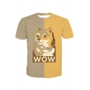 WOW Letter Color Block Dog Printed Round Neck Short Sleeve Tee