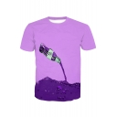 3D Pouring Drink Printed Round Neck Short Sleeve Tee