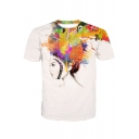 Oil Painting Girl Printed Round Neck Short Sleeve Tee
