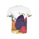 3D Fruit Printed Round Neck Short Sleeve Tee