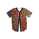 Funny Wire Printed V Neck Short Sleeve Button Down Baseball Tee