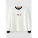 Color Block Strawberry Japanese Embroidered Round Neck Long Sleeve Tee