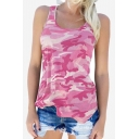 Camouflage Printed Round Neck Sleeveless Leisure Tank