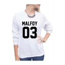 MALFOY 03 Letter Printed Round Neck Long Sleeve Sweatshirt