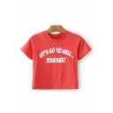 LET'GO TO HELL Letter Printed Round Neck Short Sleeve Crop Tee