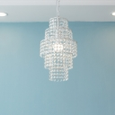 Bathroom Kitchen Girls Bedroom Crystal Empire Pendant Chandelier in White Finish