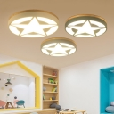 Ultra Thin Flush Mount with Star Design Boys Girls Room Acrylic LED Flush Ceiling Light in Green/Gray/White