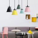 Metallic Suspension Light with Bell Shade Macaron Modern 1 Light Lighting Fixture for Foyer
