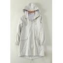 Zip Up Plain Long Sleeve Tunic Hooded Dust Coat