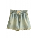 Leisure Floral Embroidered Drawstring Waist Loose Denim Shorts