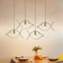 Simple Design Downrod Ceiling Pendant with Hollow Fish Shade