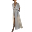 V Neck Half Sleeve Plain Split Front Tie Waist Maxi A-Line Dress