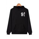 Leisure Number Printed Long Sleeve Unisex Loose Hoodie
