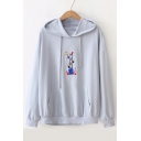 Cartoon Bird Embroidered Long Sleeve Loose Hoodie
