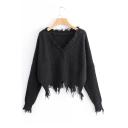 Chic V Neck Fringe Hem Long Sleeve Plain Sweater