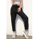 Contrast Striped Drawstring Waist Leisure Sports Pants