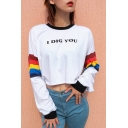 I DIG YOU Letter Contrast Striped Printed Long Sleeve Round Neck Crop Tee
