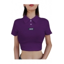 JULY Letter Printed Lapel Collar Short Sleeve Button Placket Crop Tee