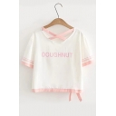 DOUGHNUT Letter Printed Hollow Out Round Neck Short Sleeve Contrast Trim Tee