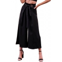 Grommet Embellished Tie Waist Plain Loose Wide Leg Pants