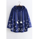 Winter Collection Snowflake Printed Loose Hooded Cape