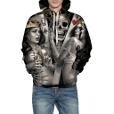 3D Sexy Crown Girl Skull Printed Long Sleeve Loose Hoodie