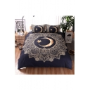 Moon Star Printed Three Pieces Soft Bedding Sets Duvet Cover Set Bed Pillowcase