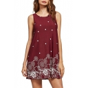 Fashion Polka Dot Printed Round Neck Sleeveless Mini Swing Dress