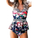 Floral Contrast Striped Printed Spaghetti Straps Sleeveless One Piece Hollow Out Back Swimwear