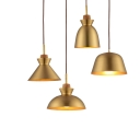 One Bulb Simple Style Hanging Lamp in Satin Brass Finish Different Shades for Choice